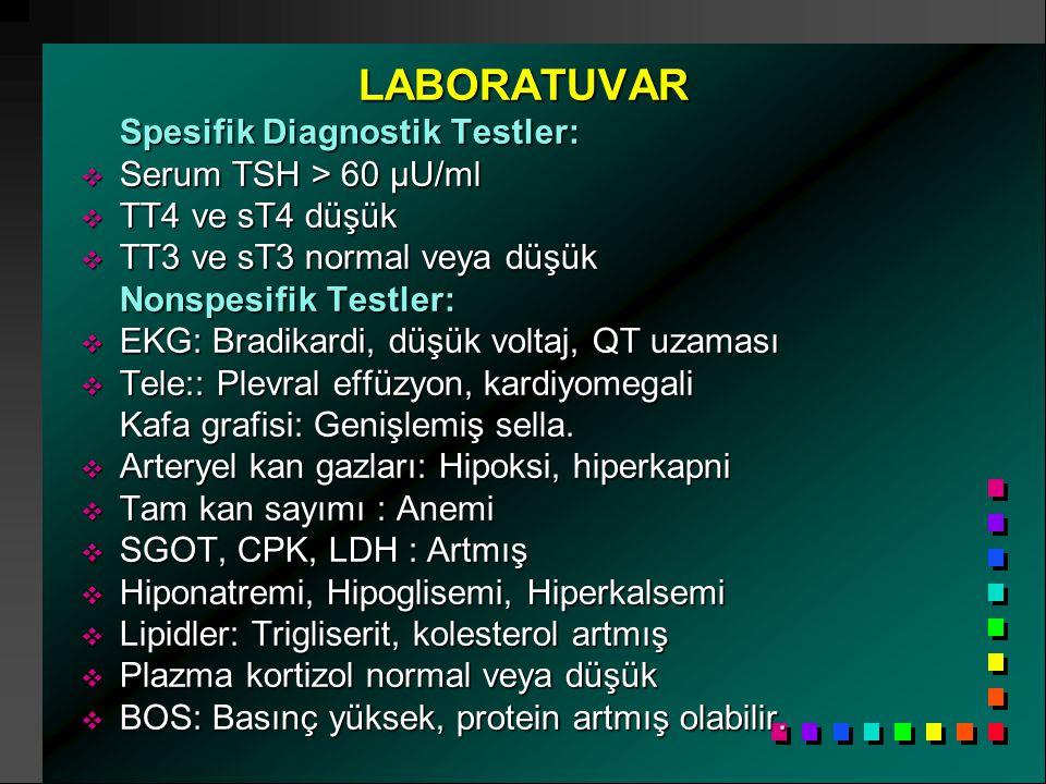 LABORATUVAR LABORATUVAR Spesifik Diagnostik Testler:  Serum TSH > 60 µU/ml  TT4 ve sT4 düşük  TT3 ve sT3 normal veya düşük Nonspesifik Testler:  E