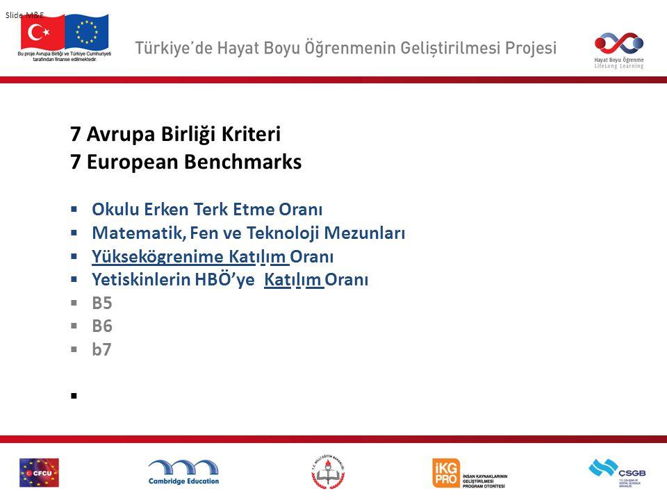 7 Avrupa Birliği Kriteri 7 European Benchmarks  Okulu Erken Terk Etme Oranı  Matematik, Fen ve Teknoloji Mezunları  Yüksekögrenime Katılım Oranı  Yetiskinlerin HBÖ'ye Katılım Oranı  B5  B6  b7  Slide M&E