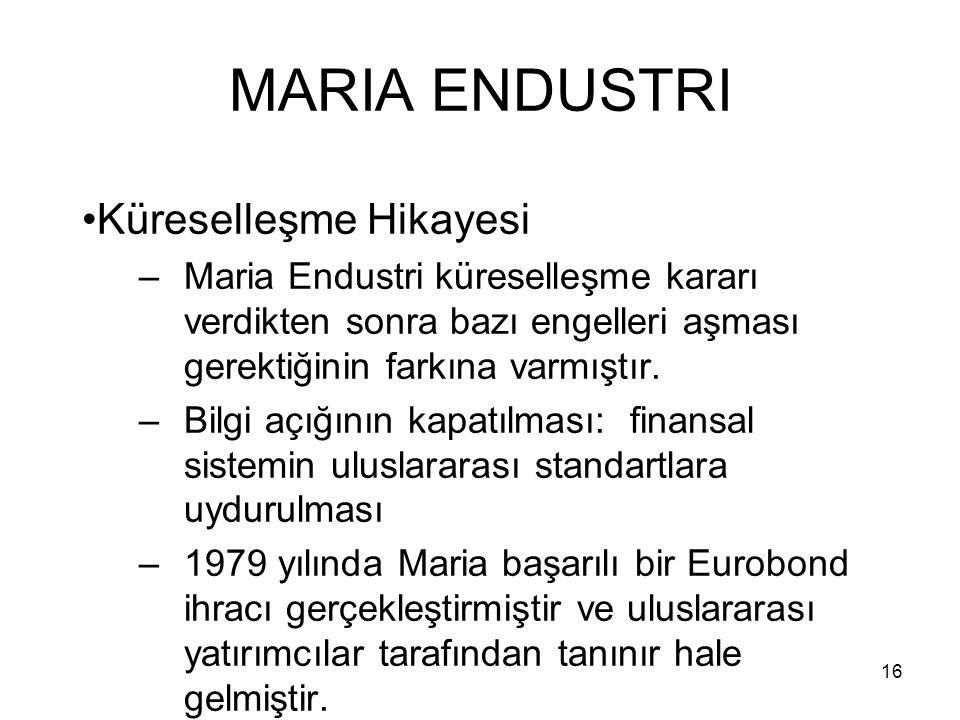 16 MARIA ENDUSTRI Küreselleşme Hikayesi –Maria Endustri küreselleşme kararı verdikten sonra bazı engelleri aşması gerektiğinin farkına varmıştır. –Bil