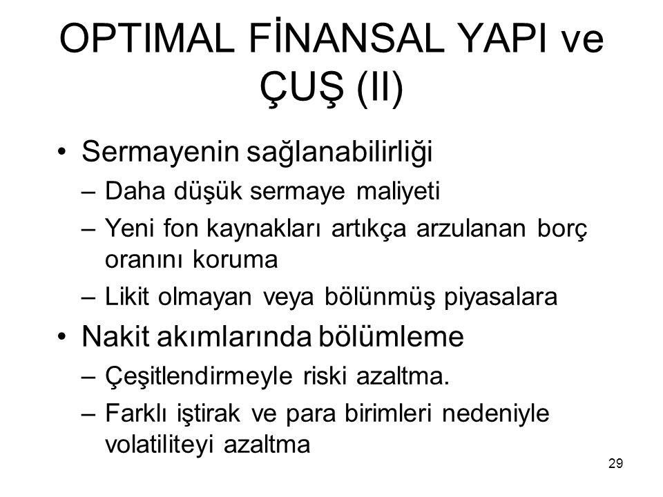 29 OPTIMAL FİNANSAL YAPI ve ÇUŞ (II) Sermayenin sağlanabilirliği –Daha düşük sermaye maliyeti –Yeni fon kaynakları artıkça arzulanan borç oranını koru