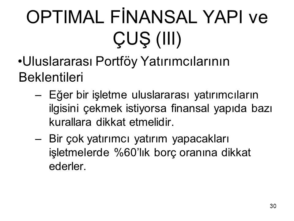 30 OPTIMAL FİNANSAL YAPI ve ÇUŞ (III) Uluslararası Portföy Yatırımcılarının Beklentileri –Eğer bir işletme uluslararası yatırımcıların ilgisini çekmek