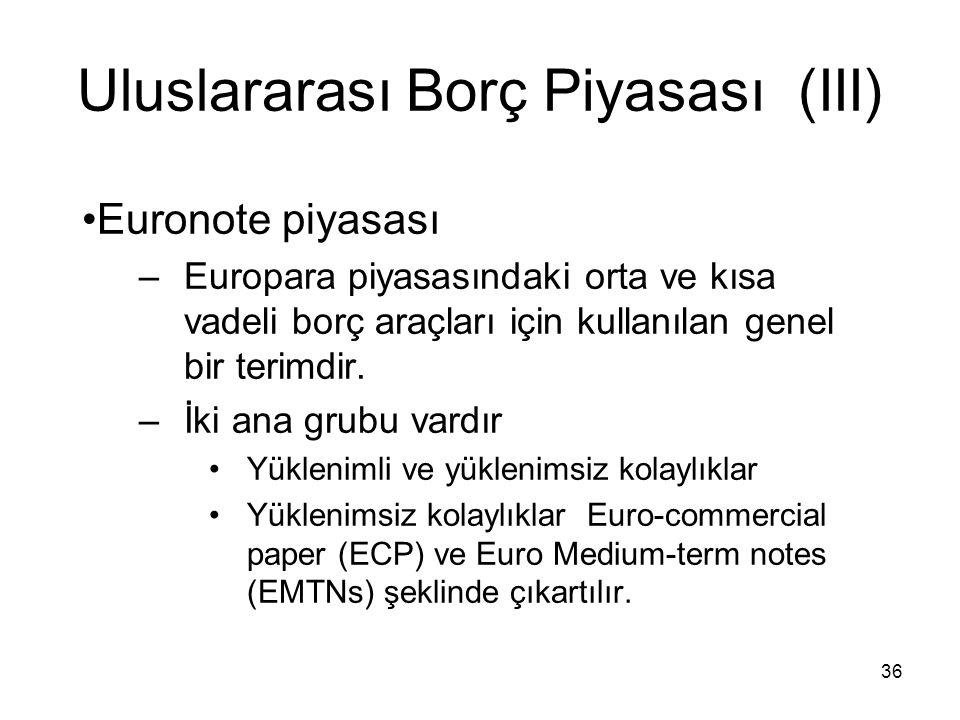 36 Uluslararası Borç Piyasası (III) Euronote piyasası –Europara piyasasındaki orta ve kısa vadeli borç araçları için kullanılan genel bir terimdir. –İ