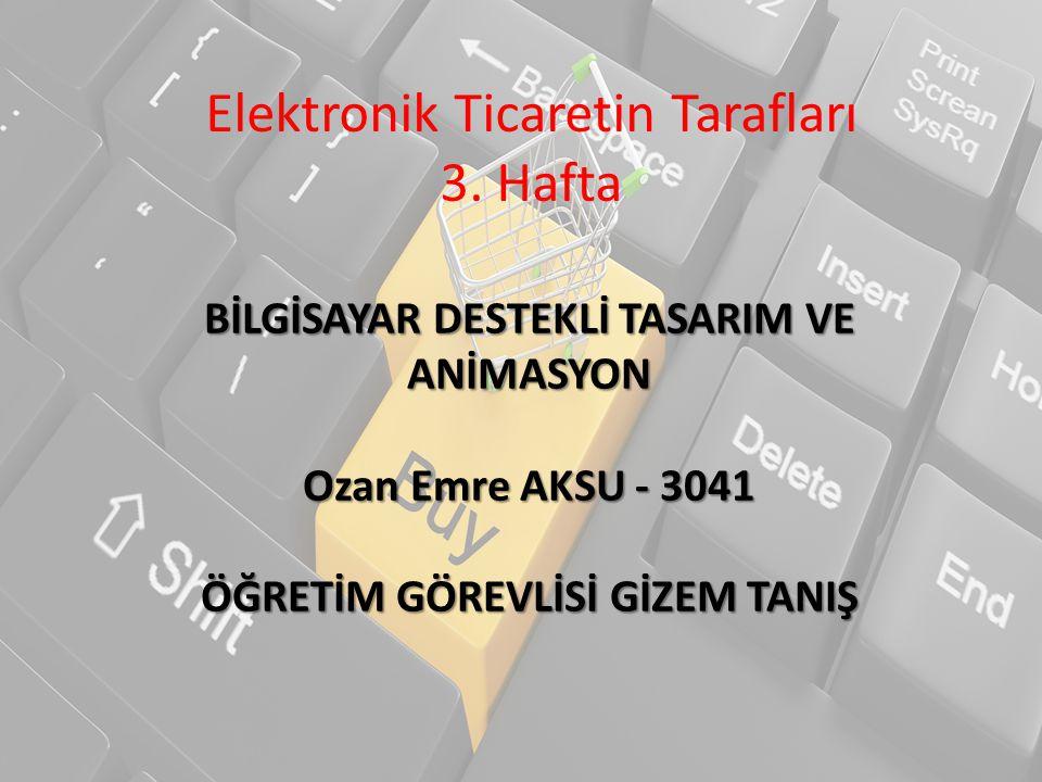 Elektronik Ticaretin Tarafları 3. Hafta BİLGİSAYAR DESTEKLİ TASARIM VE ANİMASYON Ozan Emre AKSU - 3041 ÖĞRETİM GÖREVLİSİ GİZEM TANIŞ