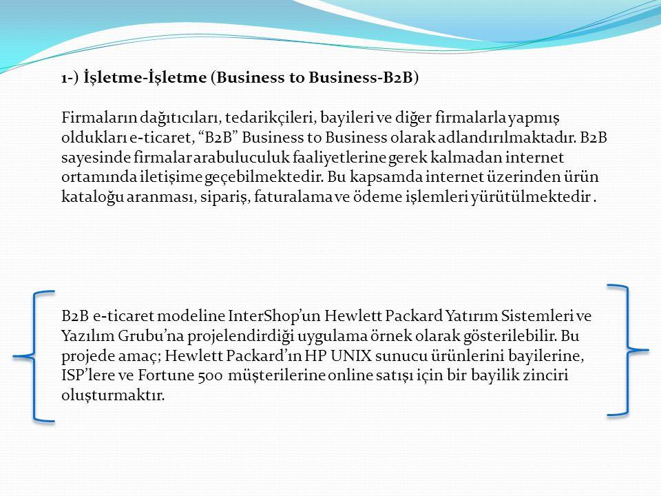 """1-) İşletme-İşletme (Business to Business-B2B) Firmaların dağıtıcıları, tedarikçileri, bayileri ve diğer firmalarla yapmış oldukları e-ticaret, """"B2B"""""""