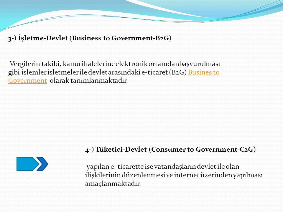 3-) İşletme-Devlet (Business to Government-B2G) Vergilerin takibi, kamu ihalelerine elektronik ortamdanbaşvurulması gibi işlemler işletmeler ile devle