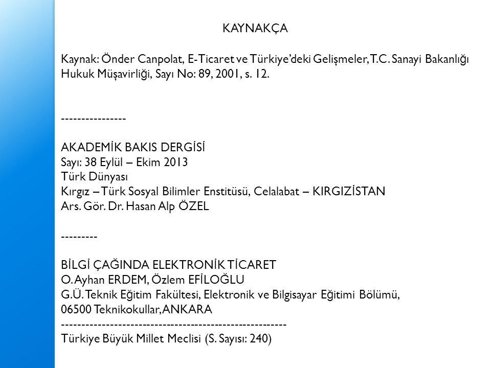 Kaynak: Önder Canpolat, E-Ticaret ve Türkiye'deki Gelişmeler, T.C. Sanayi Bakanlı ğ ı Hukuk Müşavirli ğ i, Sayı No: 89, 2001, s. 12. ----------------