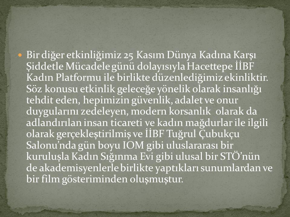 Bir diğer etkinliğimiz 25 Kasım Dünya Kadına Karşı Şiddetle Mücadele günü dolayısıyla Hacettepe İİBF Kadın Platformu ile birlikte düzenlediğimiz ekinl