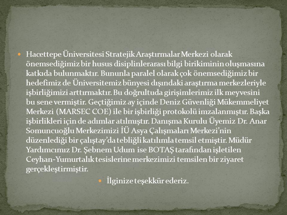 Hacettepe Üniversitesi Stratejik Araştırmalar Merkezi olarak önemsediğimiz bir husus disiplinlerarası bilgi birikiminin oluşmasına katkıda bulunmaktır