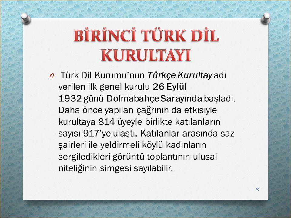 O Türk Dil Kurumu'nun Türkçe Kurultay adı verilen ilk genel kurulu 26 Eylül 1932 günü Dolmabahçe Sarayında başladı. Daha önce yapılan çağrının da etki