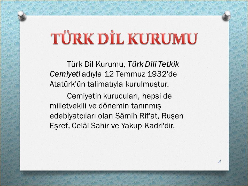 Türk Dil Kurumu, Türk Dili Tetkik Cemiyeti adıyla 12 Temmuz 1932'de Atatürk'ün talimatıyla kurulmuştur. Cemiyetin kurucuları, hepsi de milletvekili ve