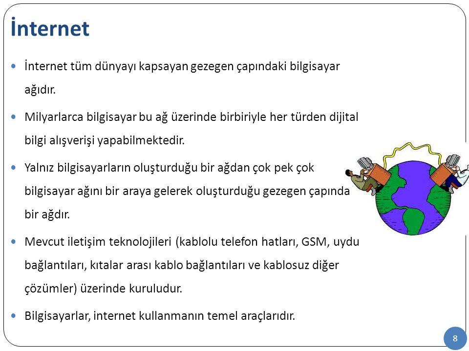8 İnternet tüm dünyayı kapsayan gezegen çapındaki bilgisayar ağıdır. Milyarlarca bilgisayar bu ağ üzerinde birbiriyle her türden dijital bilgi alışver
