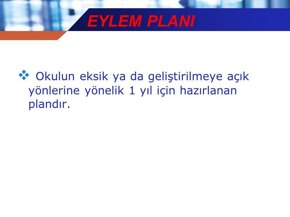 EYLEM PLANI  Okulun eksik ya da geliştirilmeye açık yönlerine yönelik 1 yıl için hazırlanan plandır.