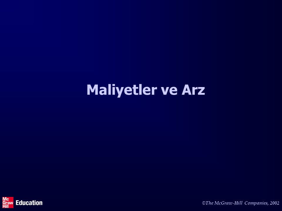 © The McGraw-Hill Companies, 2002 Maliyetler ve Arz