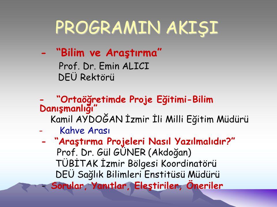 PROGRAMIN AKIŞI - Bilim ve Araştırma Prof. Dr.