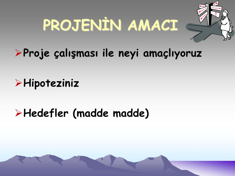  Proje çalışması ile neyi amaçlıyoruz  Hipoteziniz  Hedefler (madde madde) PROJENİN AMACI