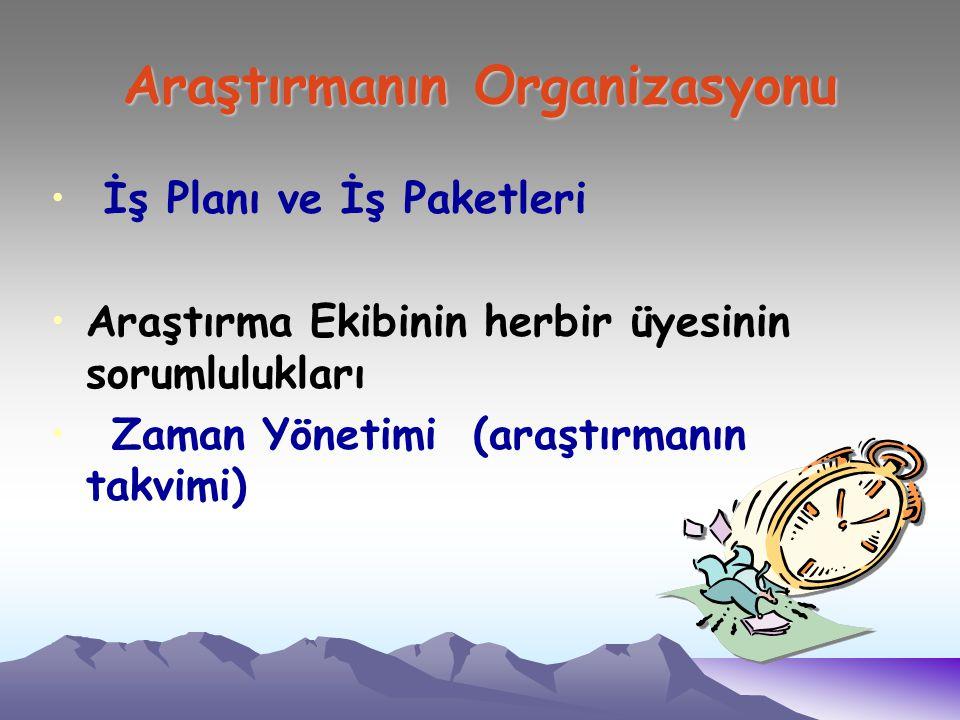 Araştırmanın Organizasyonu İş Planı ve İş Paketleri Araştırma Ekibinin herbir üyesinin sorumlulukları Zaman Yönetimi (araştırmanın takvimi)