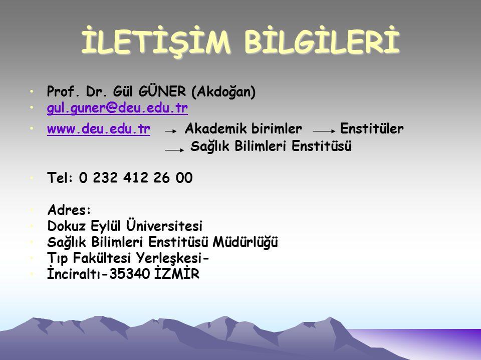 İLETİŞİM BİLGİLERİ Prof. Dr.
