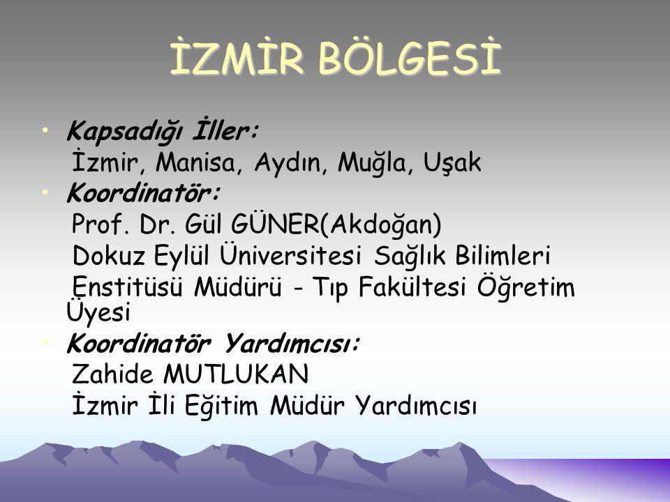 İZMİR BÖLGESİ Kapsadığı İller: İzmir, Manisa, Aydın, Muğla, Uşak Koordinatör: Prof.