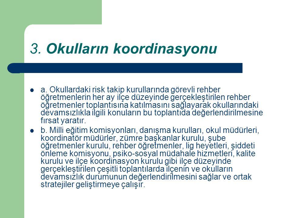 3. Okulların koordinasyonu a. Okullardaki risk takip kurullarında görevli rehber öğretmenlerin her ay ilçe düzeyinde gerçekleştirilen rehber öğretmenl