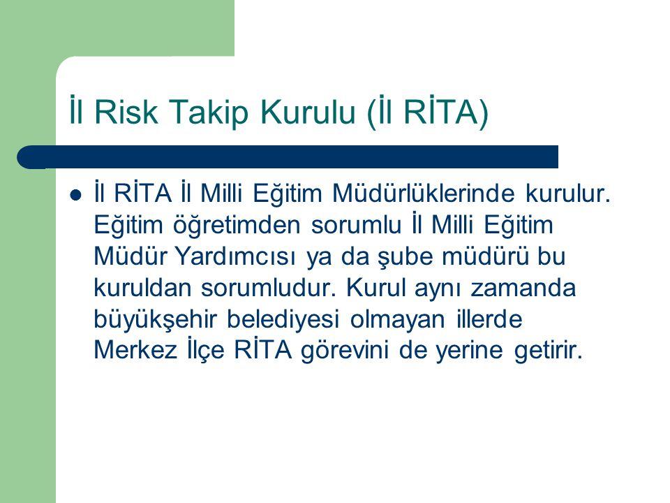 İl Risk Takip Kurulu (İl RİTA) İl RİTA İl Milli Eğitim Müdürlüklerinde kurulur. Eğitim öğretimden sorumlu İl Milli Eğitim Müdür Yardımcısı ya da şube