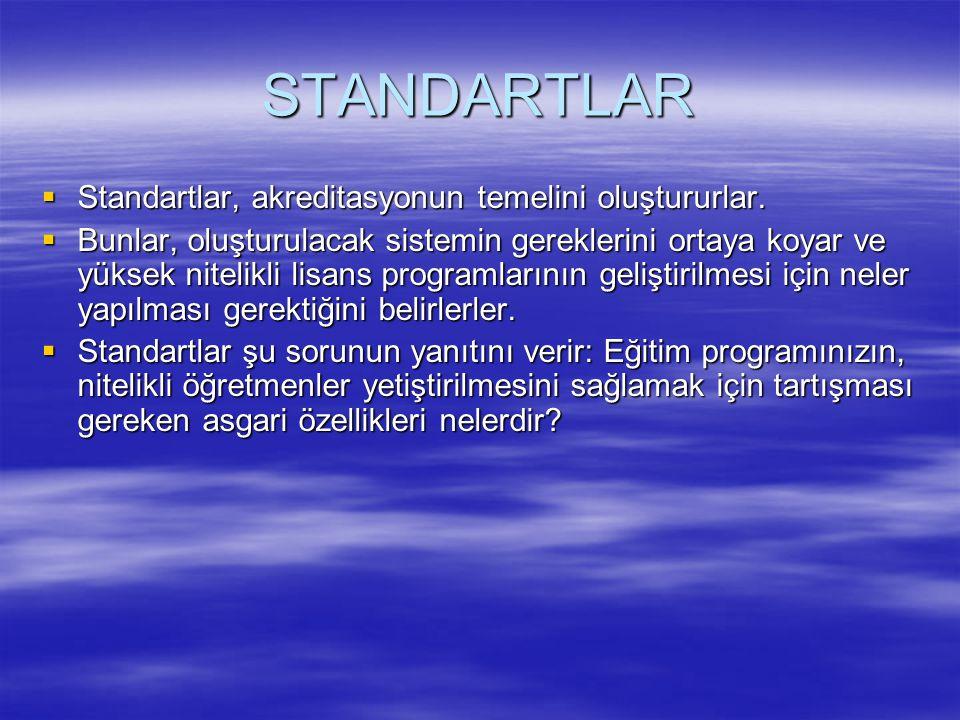 Türk öğretmen eğitimi akreditasyon sistemi üç grup standart üzerine oturur: Bunlar sırasıyla başlangıç standartları, süreç standartları ve ürün standartlarıdır.