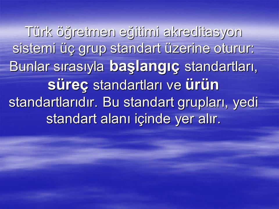 Türk öğretmen eğitimi akreditasyon sistemi üç grup standart üzerine oturur: Bunlar sırasıyla başlangıç standartları, süreç standartları ve ürün standa