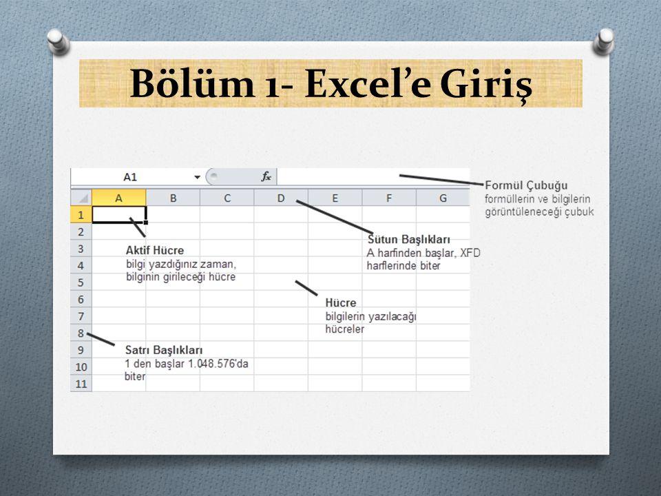 Hücre ve Aktif Hücre Kavramını Anlamak O Hücreler, Excel'de satırların ve sütünların kesişmesinden meydana gelirler.
