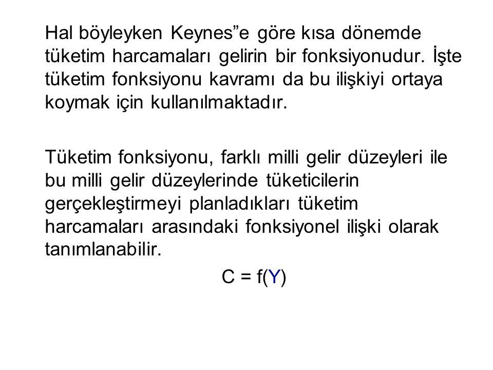 """Hal böyleyken Keynes""""e göre kısa dönemde tüketim harcamaları gelirin bir fonksiyonudur. İşte tüketim fonksiyonu kavramı da bu ilişkiyi ortaya koymak i"""