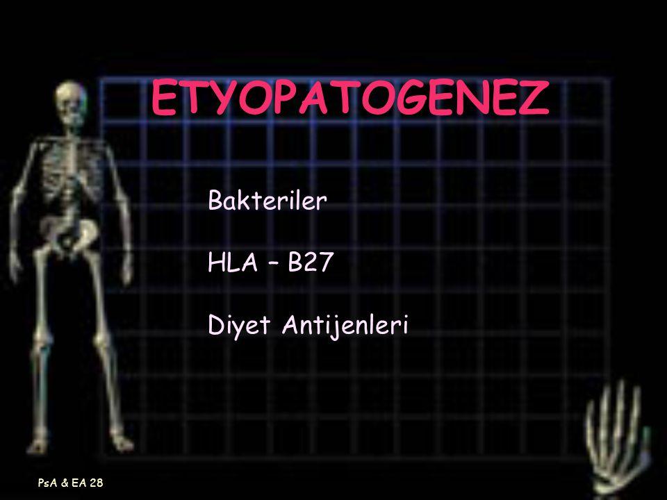 PsA & EA 28 ETYOPATOGENEZ Bakteriler HLA – B27 Diyet Antijenleri