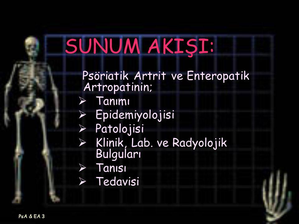 PsA & EA 3 SUNUM AKIŞI: Psöriatik Artrit ve Enteropatik Artropatinin;  Tanımı  Epidemiyolojisi  Patolojisi  Klinik, Lab. ve Radyolojik Bulguları 