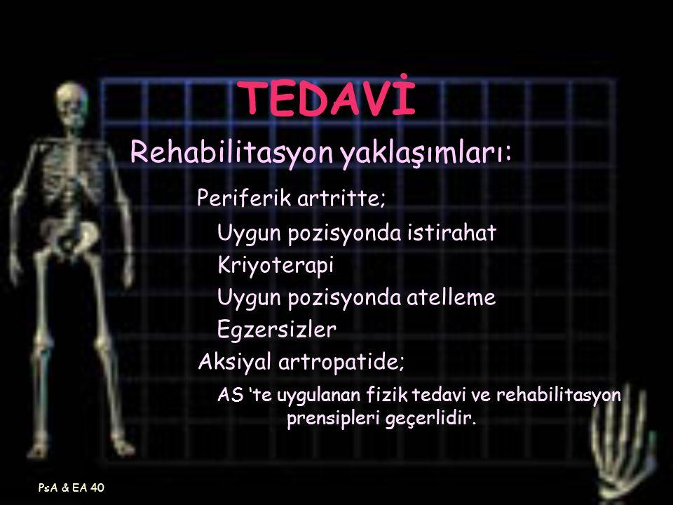 PsA & EA 40 TEDAVİ Rehabilitasyon yaklaşımları: Periferik artritte; Uygun pozisyonda istirahat Kriyoterapi Uygun pozisyonda atelleme Egzersizler Aksiy