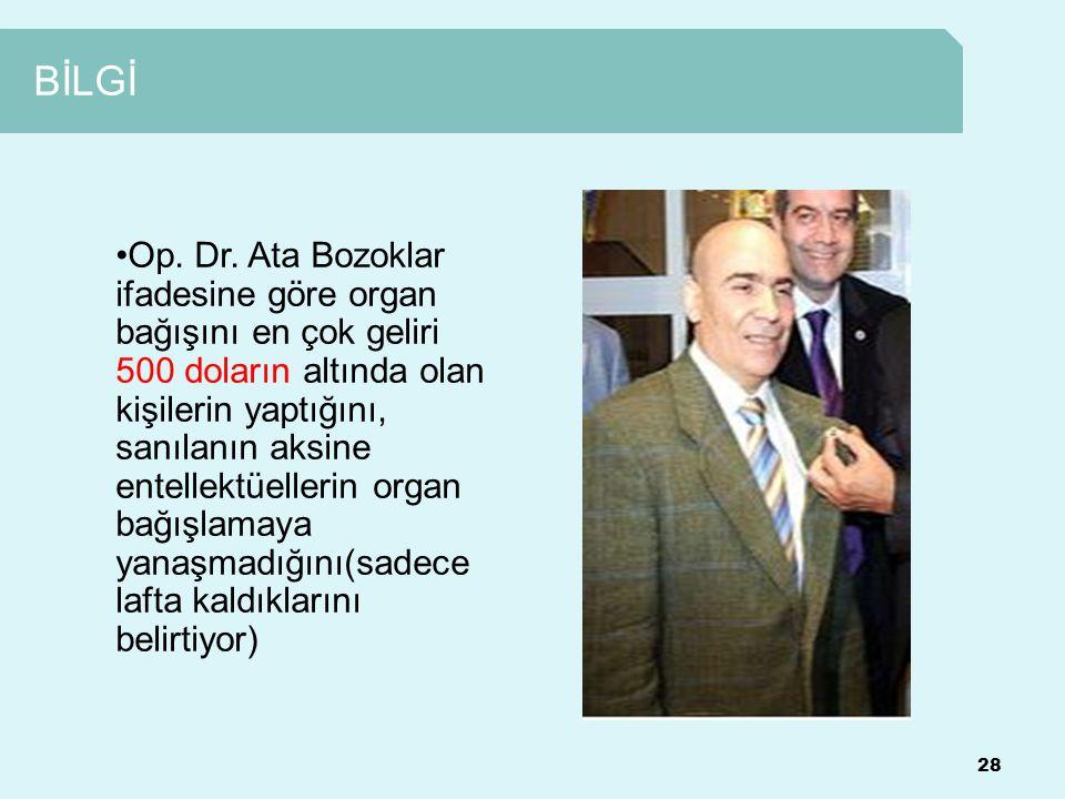 BİLGİ 28 Op. Dr. Ata Bozoklar ifadesine göre organ bağışını en çok geliri 500 doların altında olan kişilerin yaptığını, sanılanın aksine entellektüell