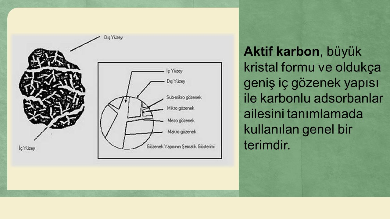 Aktif karbon, büyük kristal formu ve oldukça geniş iç gözenek yapısı ile karbonlu adsorbanlar ailesini tanımlamada kullanılan genel bir terimdir.