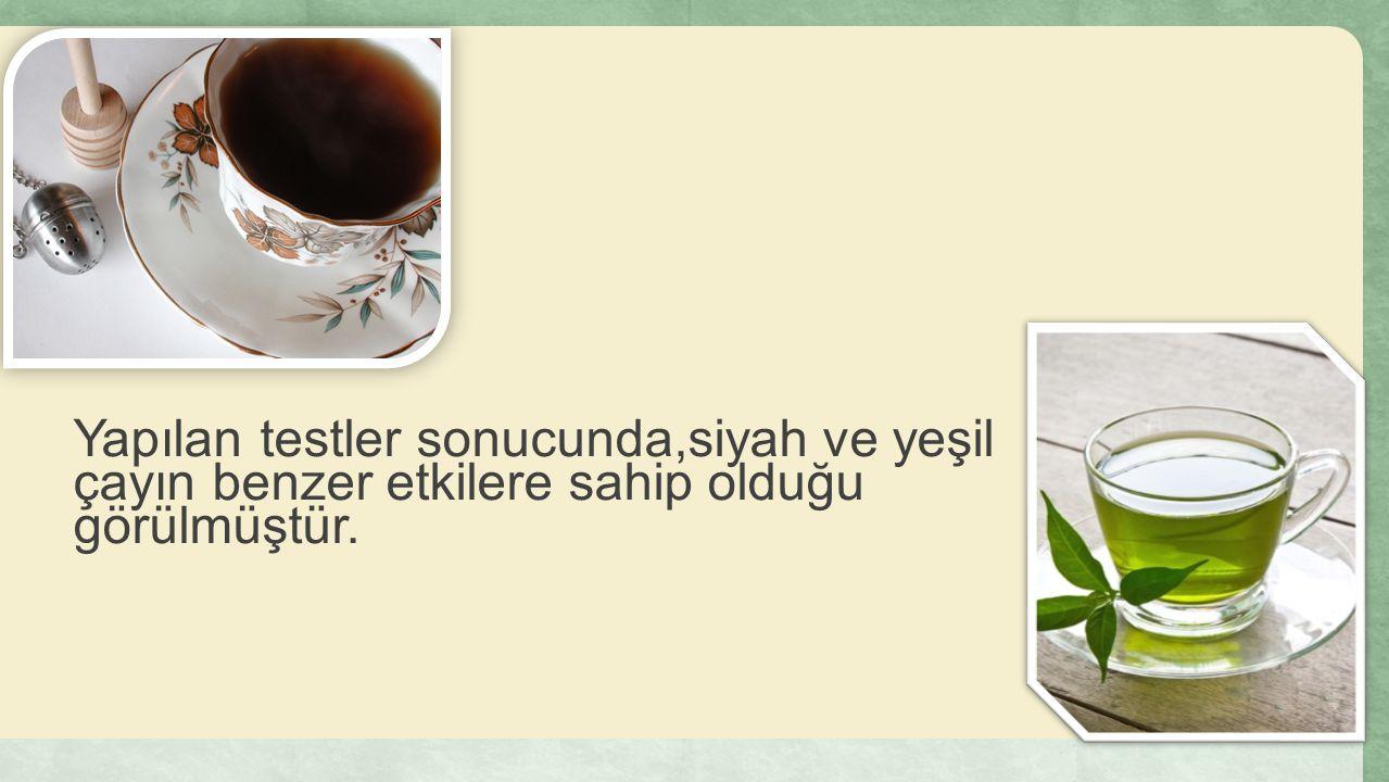 Yapılan testler sonucunda,siyah ve yeşil çayın benzer etkilere sahip olduğu görülmüştür.