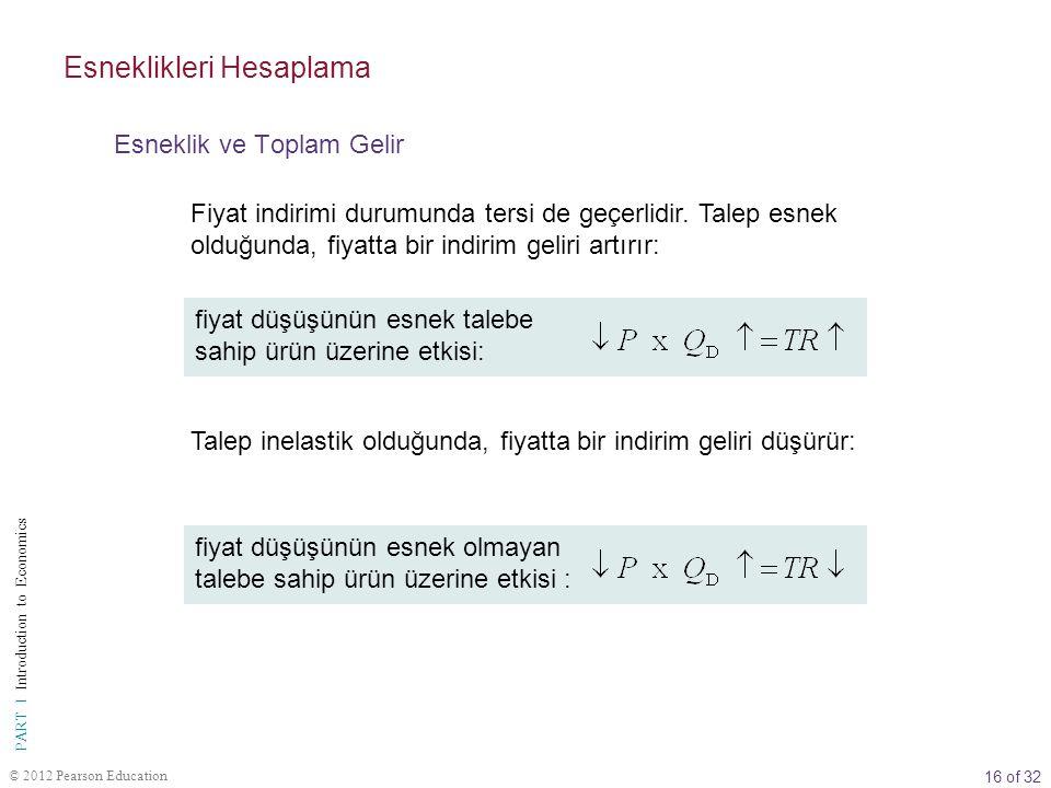 16 of 32 PART I Introduction to Economics © 2012 Pearson Education Fiyat indirimi durumunda tersi de geçerlidir. Talep esnek olduğunda, fiyatta bir in