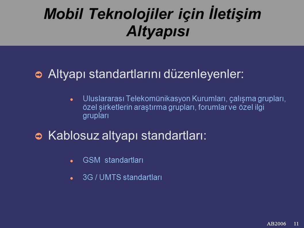 AB2006 Mobil Teknolojiler için İletişim Altyapısı ➲ Altyapı standartlarını düzenleyenler: ● Uluslararası Telekomünikasyon Kurumları, çalışma grupları, özel şirketlerin araştırma grupları, forumlar ve özel ilgi grupları ➲ Kablosuz altyapı standartları: ● GSM standartları ● 3G / UMTS standartları 11