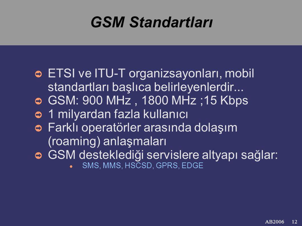 AB2006 GSM Standartları ➲ ETSI ve ITU-T organizsayonları, mobil standartları başlıca belirleyenlerdir...