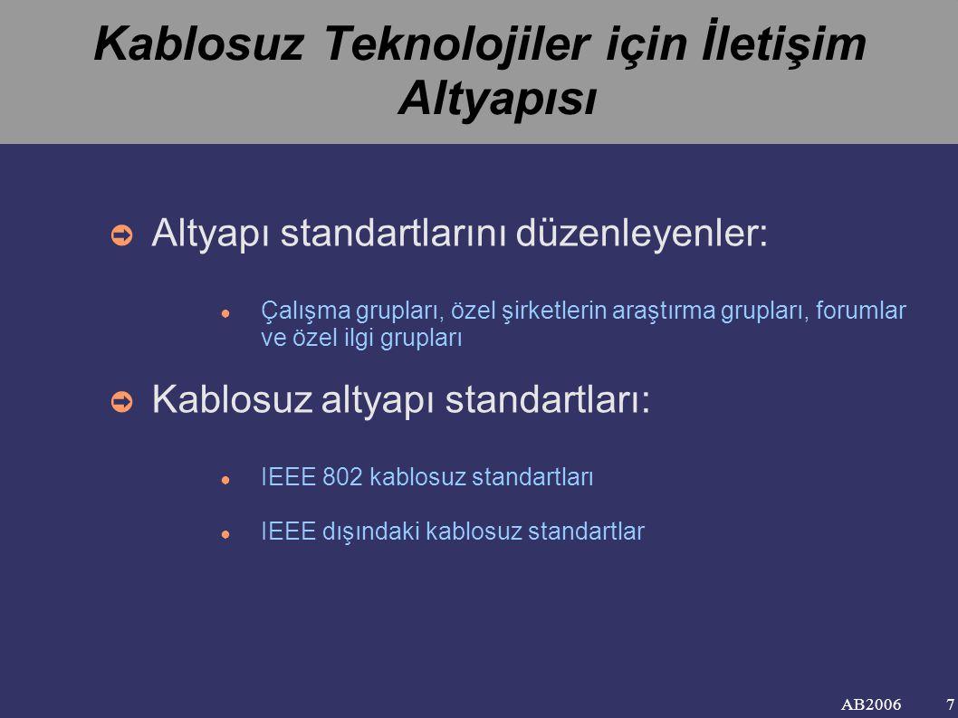 AB2006 Kablosuz Teknolojiler için İletişim Altyapısı ➲ Altyapı standartlarını düzenleyenler: ● Çalışma grupları, özel şirketlerin araştırma grupları, forumlar ve özel ilgi grupları ➲ Kablosuz altyapı standartları: ● IEEE 802 kablosuz standartları ● IEEE dışındaki kablosuz standartlar 7