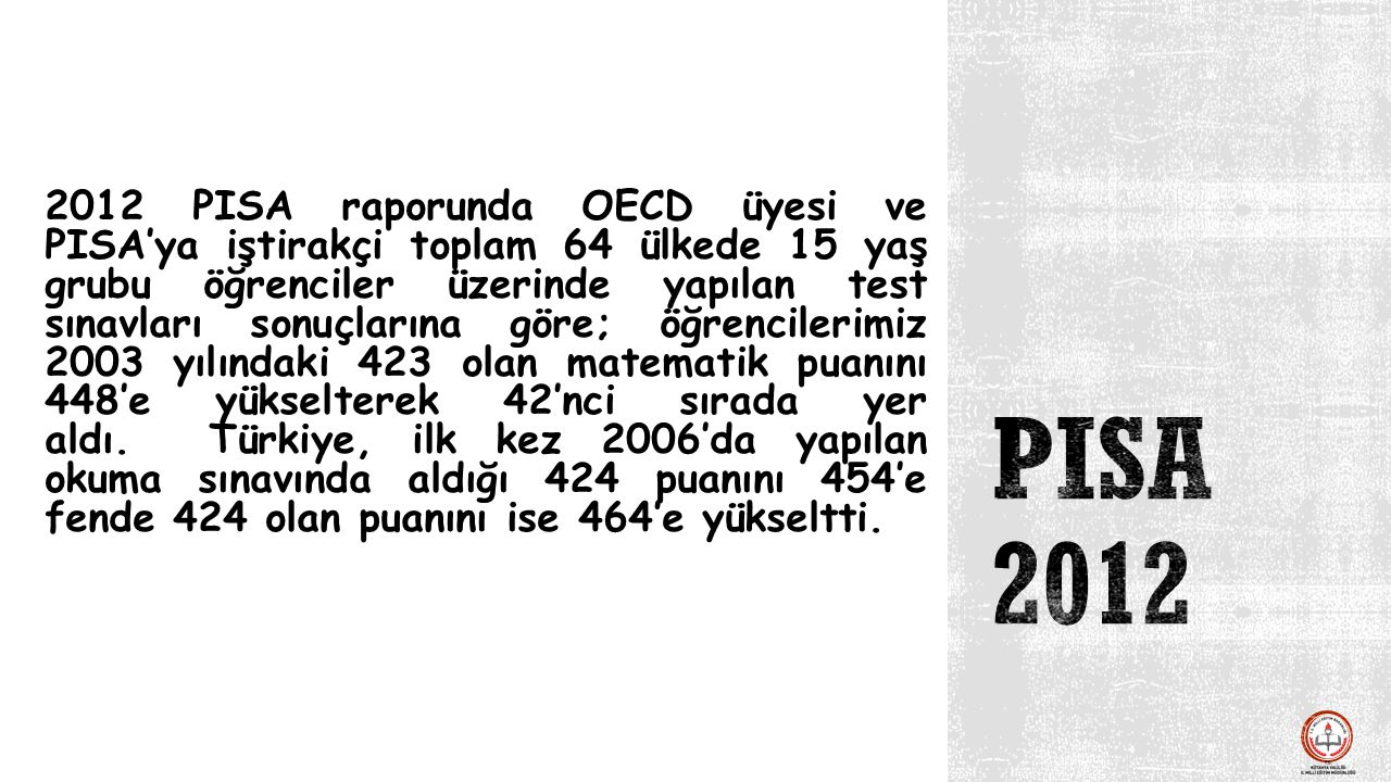 2012 PISA raporunda OECD üyesi ve PISA'ya iştirakçi toplam 64 ülkede 15 yaş grubu öğrenciler üzerinde yapılan test sınavları sonuçlarına göre; öğrenci