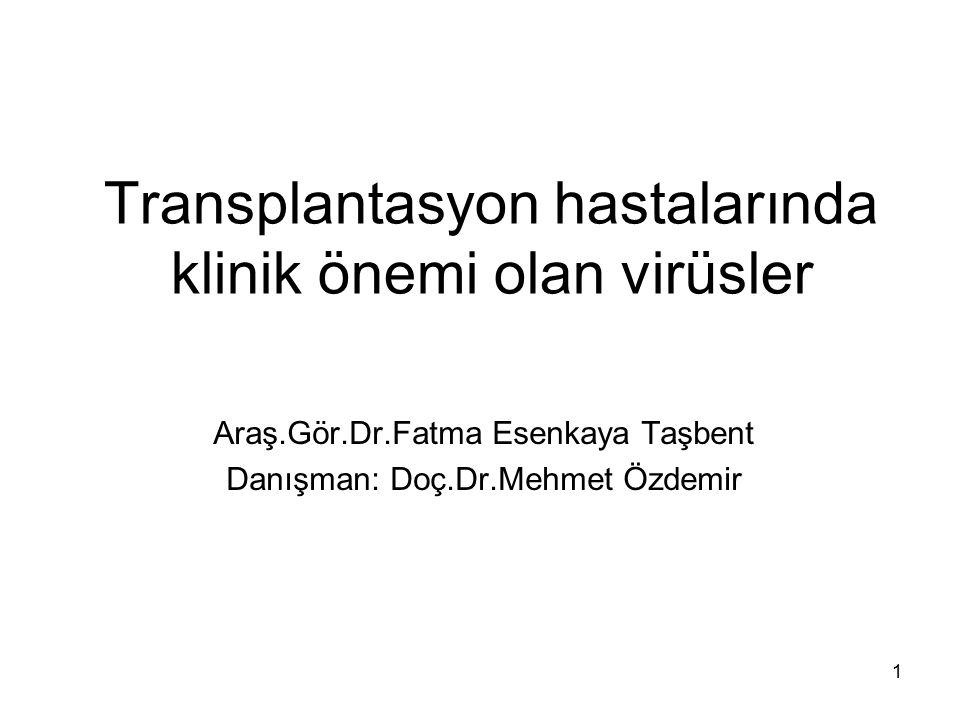 32 CMV Transplantasyon sonrası dönemde en önemli viral komplikasyon olan CMV hastalığının önlenmesi için gansiklovir gibi antiviral ajanlarla profilaksi yaklaşımları bulunmaktadır