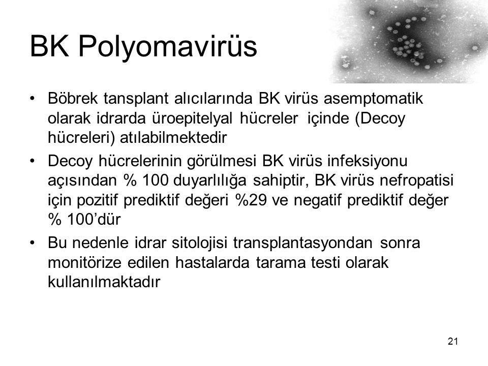 21 BK Polyomavirüs Böbrek tansplant alıcılarında BK virüs asemptomatik olarak idrarda üroepitelyal hücreler içinde (Decoy hücreleri) atılabilmektedir