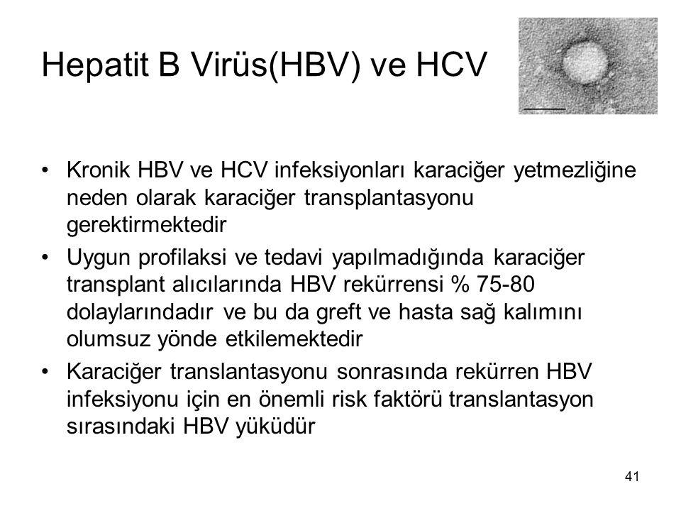 41 Hepatit B Virüs(HBV) ve HCV Kronik HBV ve HCV infeksiyonları karaciğer yetmezliğine neden olarak karaciğer transplantasyonu gerektirmektedir Uygun
