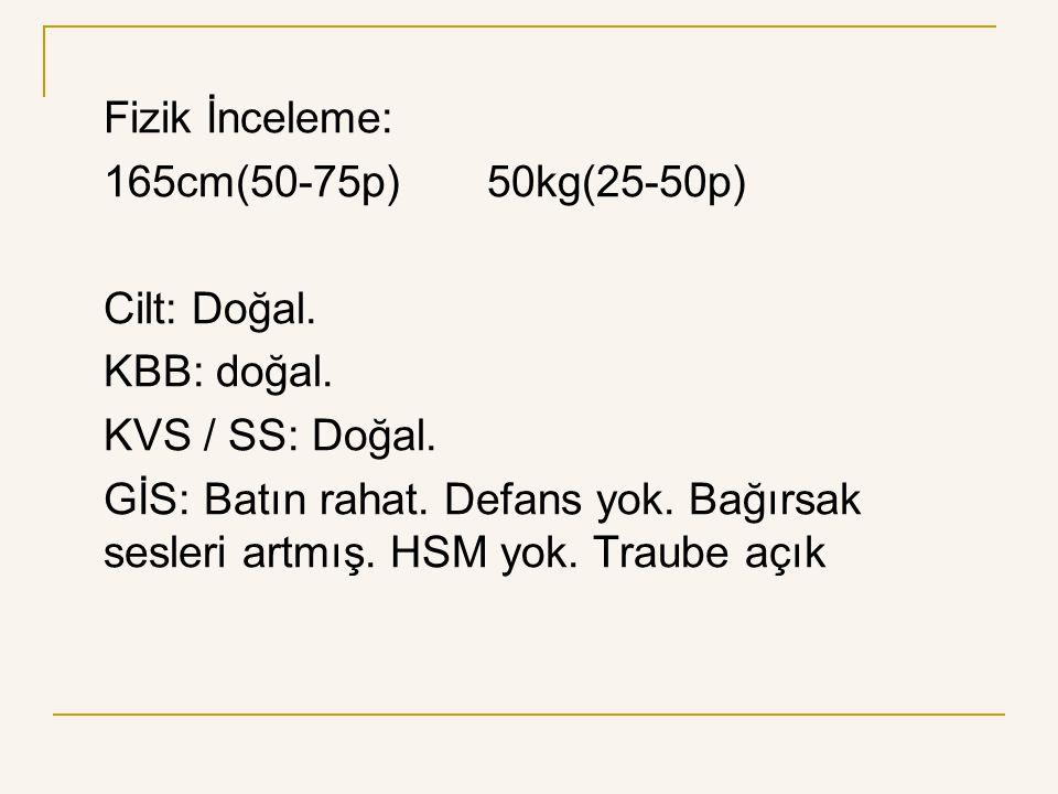 Fizik İnceleme: 165cm(50-75p)50kg(25-50p) Cilt: Doğal. KBB: doğal. KVS / SS: Doğal. GİS: Batın rahat. Defans yok. Bağırsak sesleri artmış. HSM yok. Tr