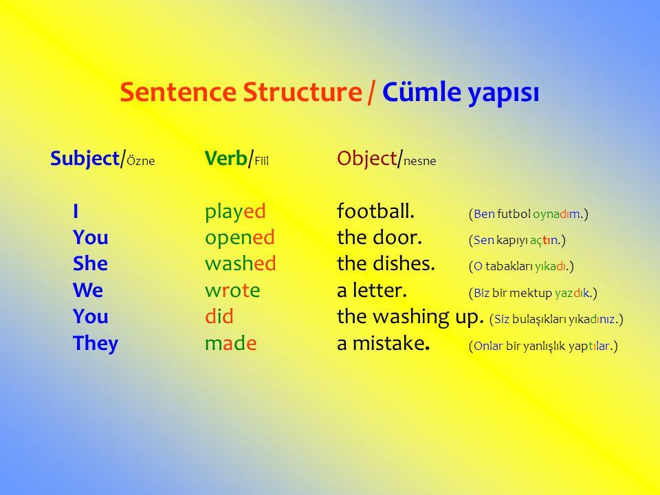 Sentence Structure / Cümle yapısı Subject/ Özne Verb/ Fiil Object/ nesne Iplayedfootball. (Ben futbol oynadım.) Youopenedthe door. (Sen kapıyı açtın.)