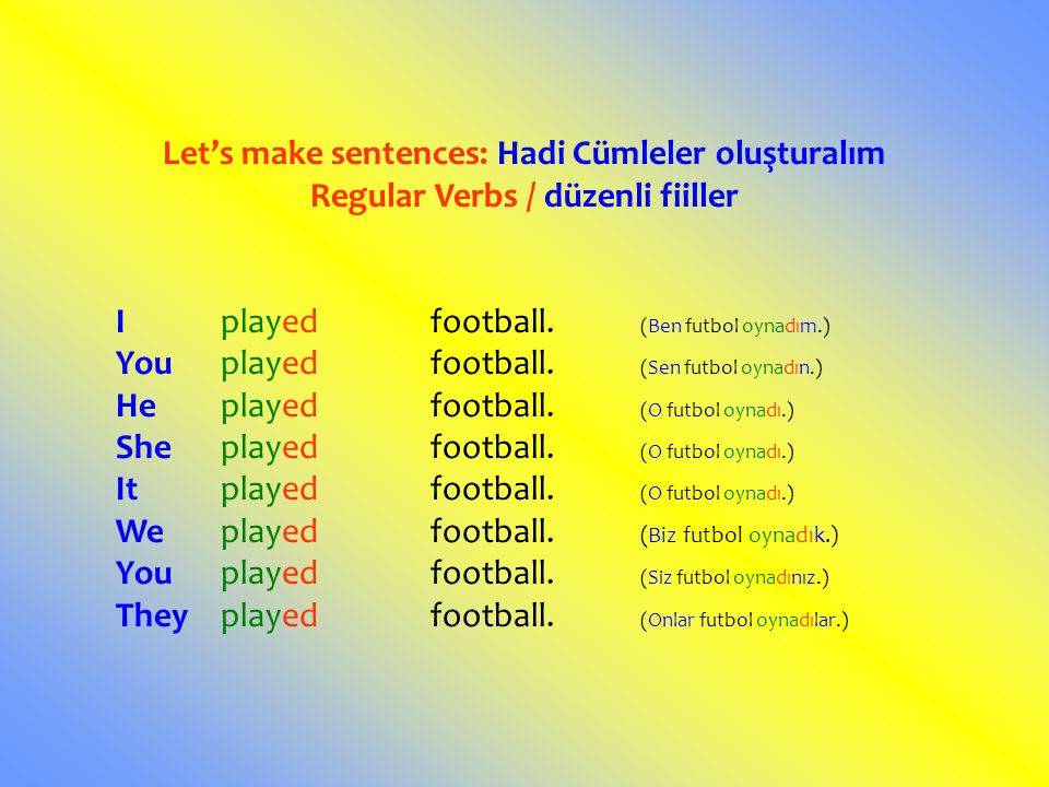 Let's make sentences: Hadi Cümleler oluşturalım Regular Verbs / düzenli fiiller Iplayedfootball. (Ben futbol oynadım.) Youplayedfootball. (Sen futbol