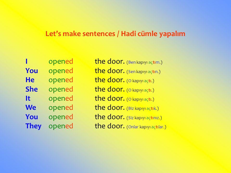 Let's make sentences / Hadi cümle yapalım Iopenedthe door. (Ben kapıyı açtım.) Youopenedthe door. (Sen kapıyı açtın.) Heopenedthe door. (O kapıyı açtı