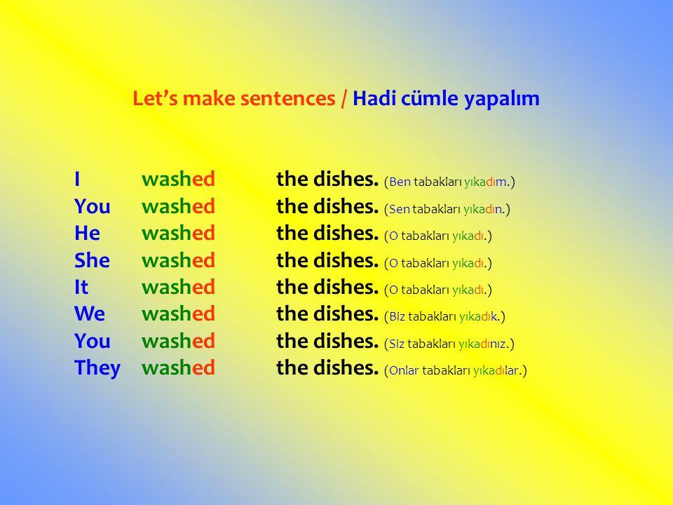 Let's make sentences / Hadi cümle yapalım Iwashedthe dishes. (Ben tabakları yıkadım.) Youwashedthe dishes. (Sen tabakları yıkadın.) Hewashedthe dishes