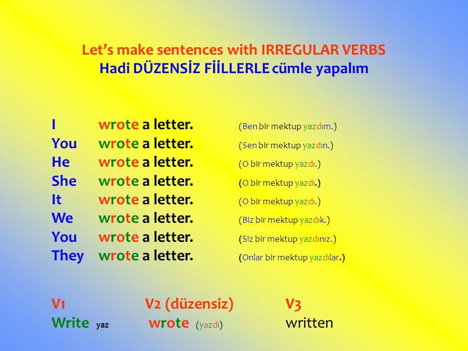 Let's make sentences with IRREGULAR VERBS Hadi DÜZENSİZ FİİLLERLE cümle yapalım Iwrote a letter. (Ben bir mektup yazdım.) Youwrote a letter. (Sen bir