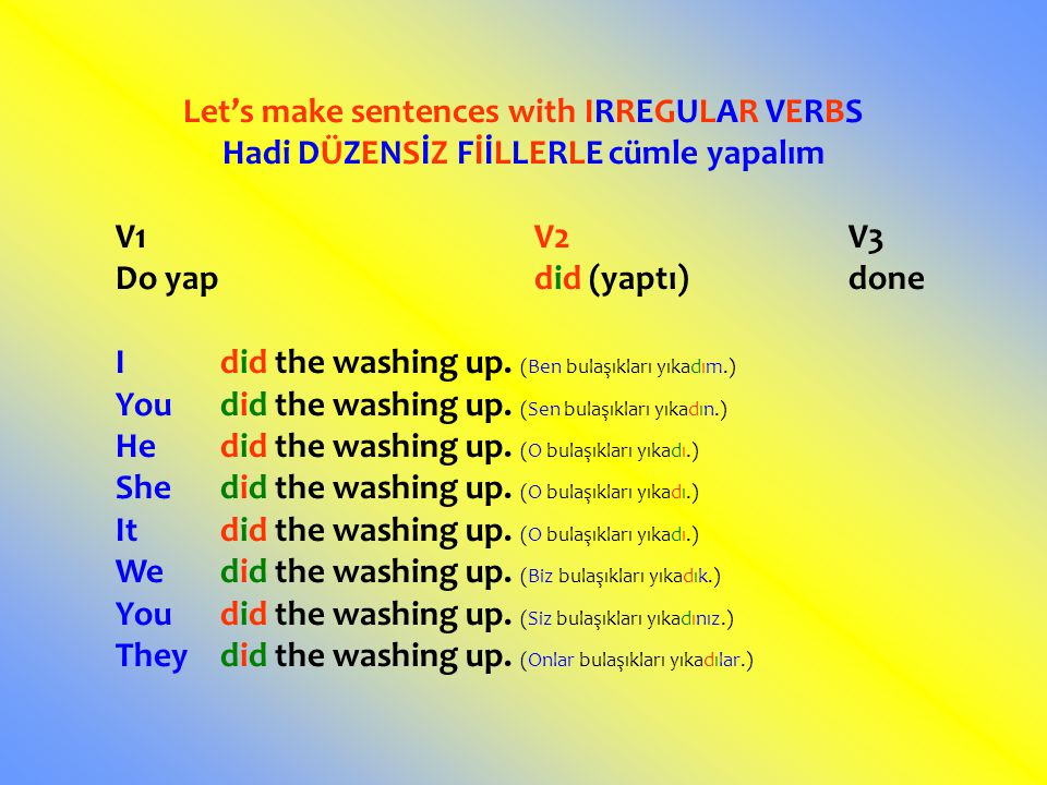 Let's make sentences with IRREGULAR VERBS Hadi DÜZENSİZ FİİLLERLE cümle yapalım V1V2V3 Do yapdid (yaptı)done Idid the washing up.