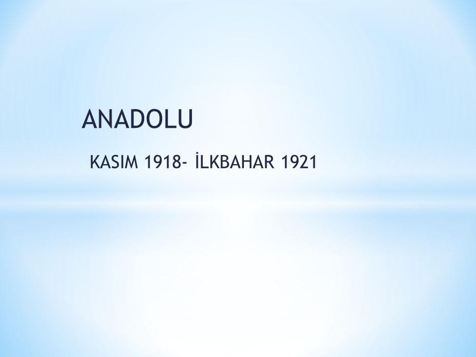 ANADOLU KASIM 1918- İLKBAHAR 1921